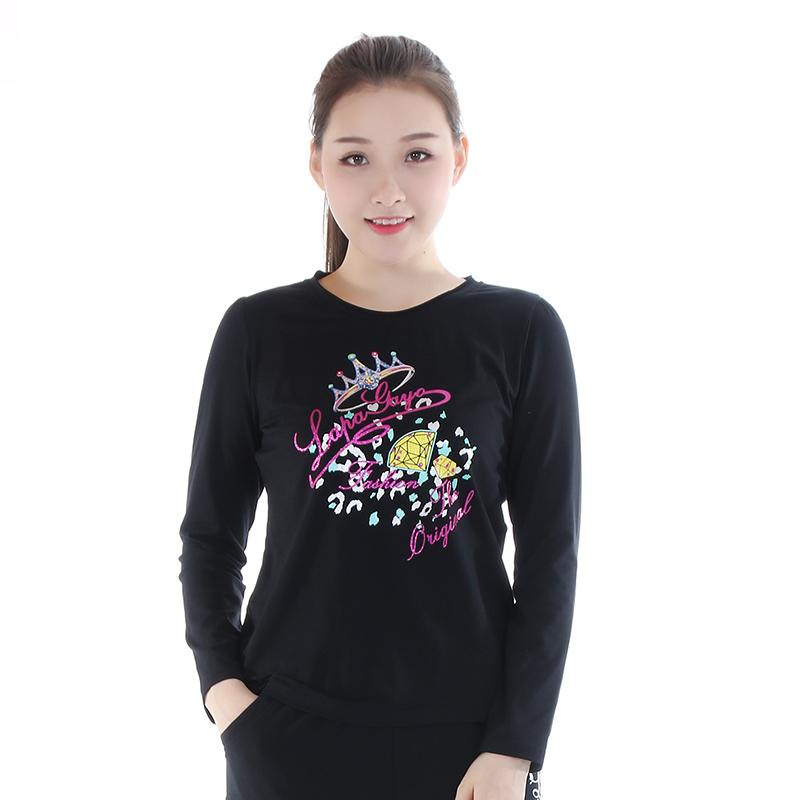 圆领t恤女长袖 La Pagayo春夏装女装宽松圆领大码T恤显瘦休闲运动长袖衫DSS7002A_推荐淘宝好看的女圆领t恤女长袖