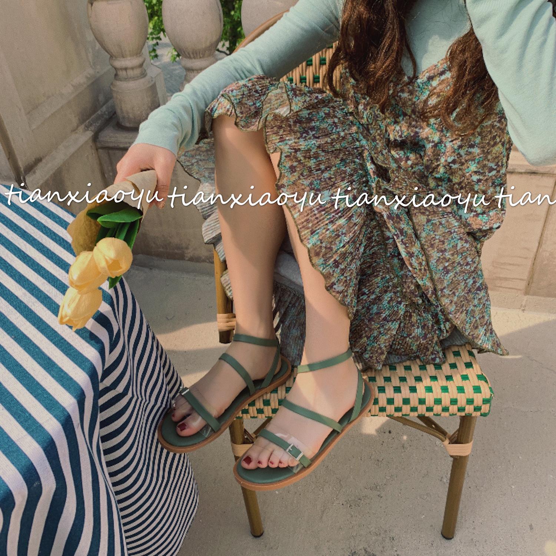绿色凉鞋 仙女风凉鞋女学生2020秋季新款百搭晚晚鞋秋季绿色平底罗马ins潮_推荐淘宝好看的绿色凉鞋