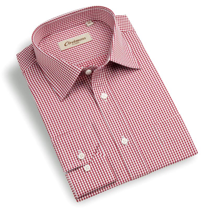 格子男式衬衫 Clreimens克莱蒙斯衬衫男式舒适全棉长袖商务休闲红白小格子衬衫_推荐淘宝好看的格子男式衬衫