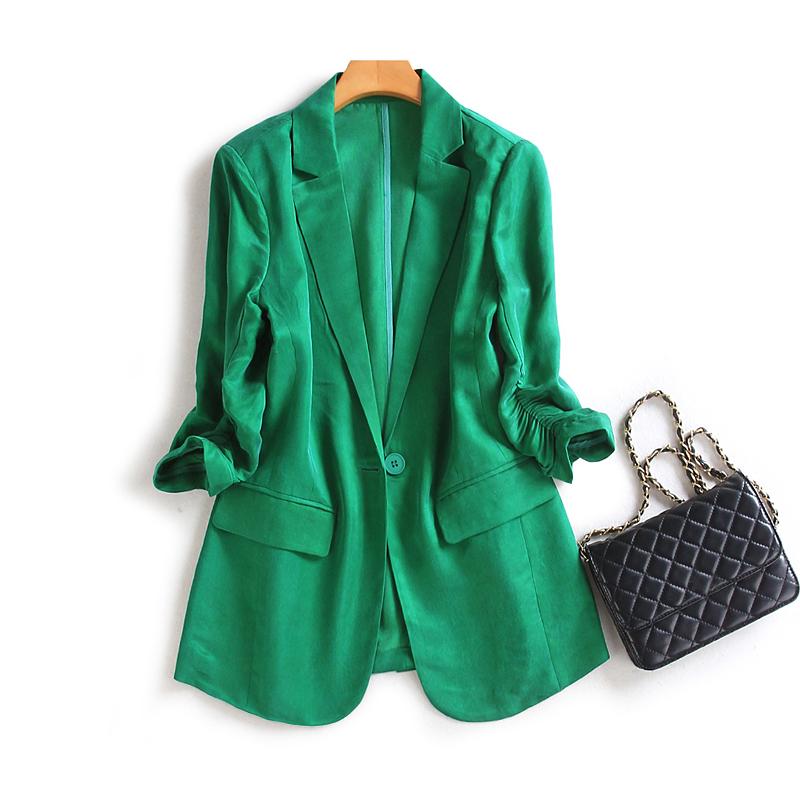 绿色小西装 2021春夏季绿色铜氨丝小西装外套女英伦风顺滑气质薄款后开叉西服_推荐淘宝好看的绿色小西装