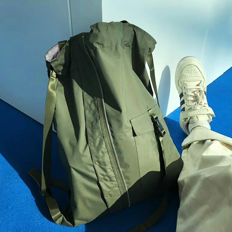 绿色双肩包 抽绳包束口袋飞行员绿色个性潮单双肩背包男女通用健身休闲旅行包_推荐淘宝好看的绿色双肩包