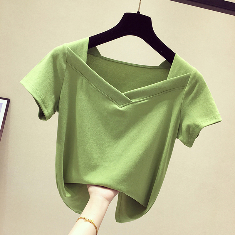 绿色T恤 绿色V领修身短袖女t恤2021春装新款韩版白色半袖ins网红短款上衣_推荐淘宝好看的绿色T恤