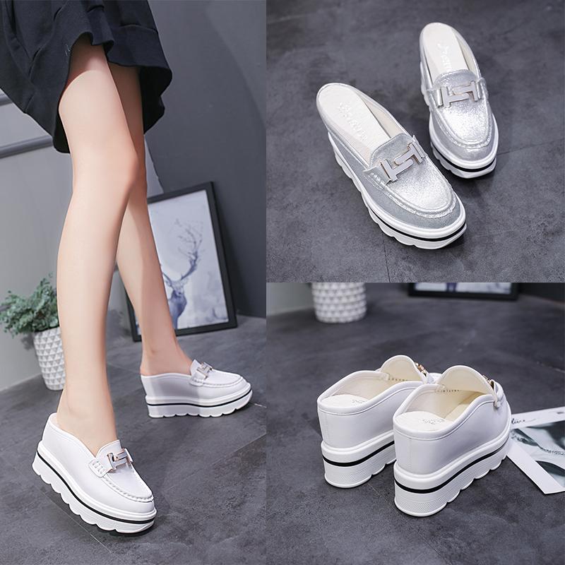 白色松糕鞋 春夏季新款内增高拖鞋女外穿韩版松糕厚底高跟白色包头半拖鞋10CM_推荐淘宝好看的白色松糕鞋