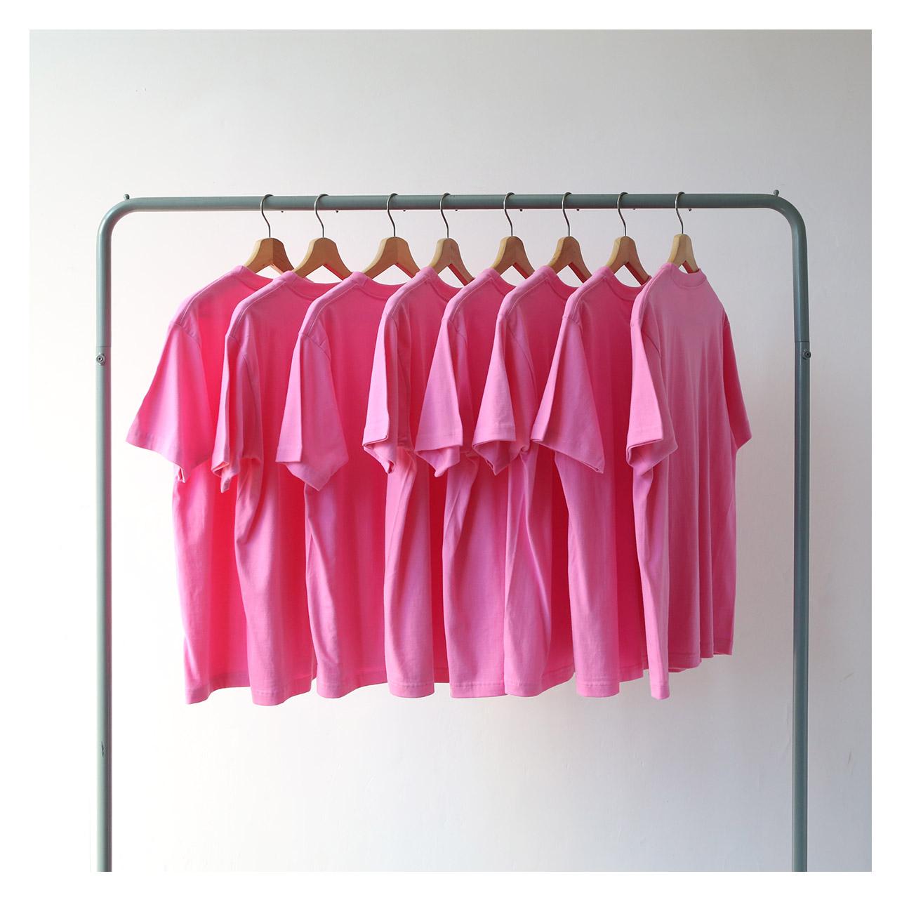粉红色T恤 230克重磅厚实蜜桃粉 桃红色粉红色纯棉短袖T恤男 女情侣宽松潮流_推荐淘宝好看的粉红色T恤