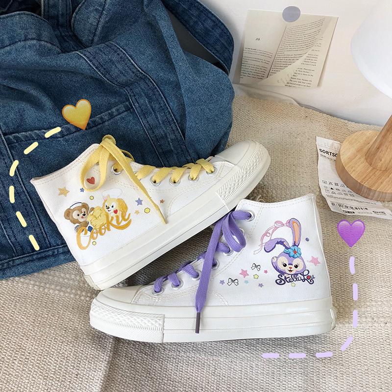紫色帆布鞋 紫色兔子高帮帆布鞋女学生少女心原宿手绘帆布鞋ulzzang街拍板鞋_推荐淘宝好看的紫色帆布鞋