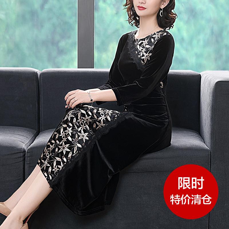 黑色蕾丝连衣裙 拼接显瘦宽松蕾丝长袖黑色碎花丝绒连衣裙高端气质秋装2021年新款_推荐淘宝好看的黑色蕾丝连衣裙
