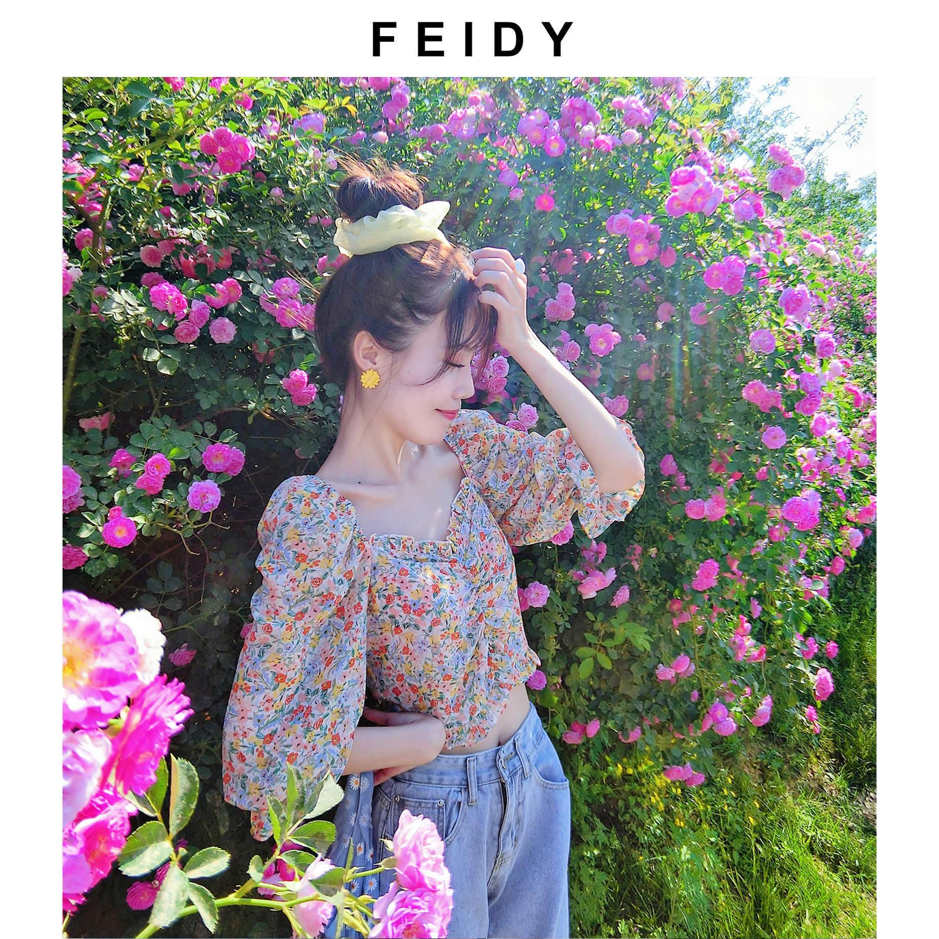 法式衬衫 FEIDY夏季新款浪漫方领泡泡袖衬衫女法式复古碎花露肩短款上衣女_推荐淘宝好看的女法 衬衫