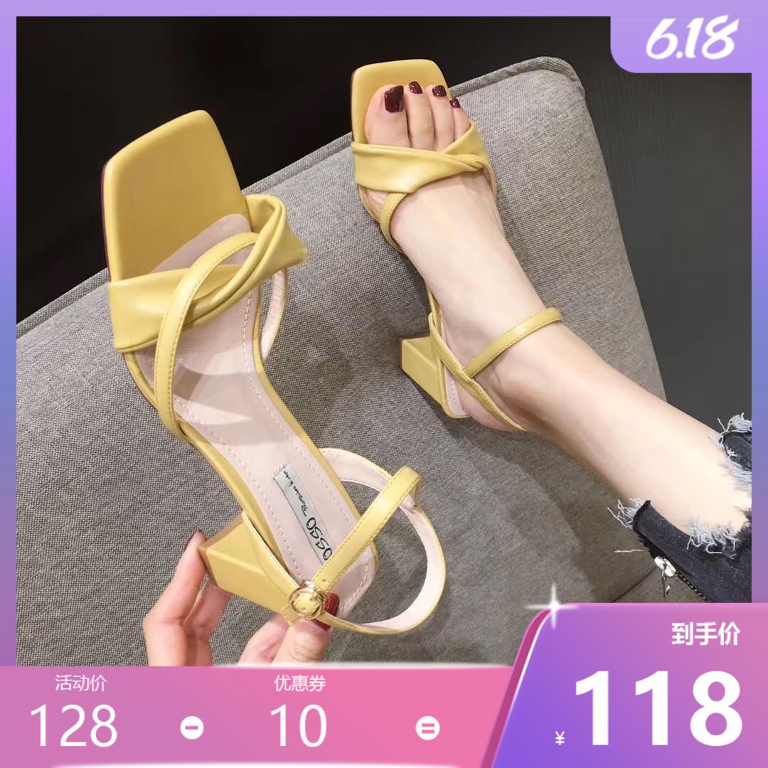 黄色凉鞋 舒适方头粗跟凉鞋女配裙子2021夏季一字式扣带中跟淑女黄色高跟鞋_推荐淘宝好看的黄色凉鞋