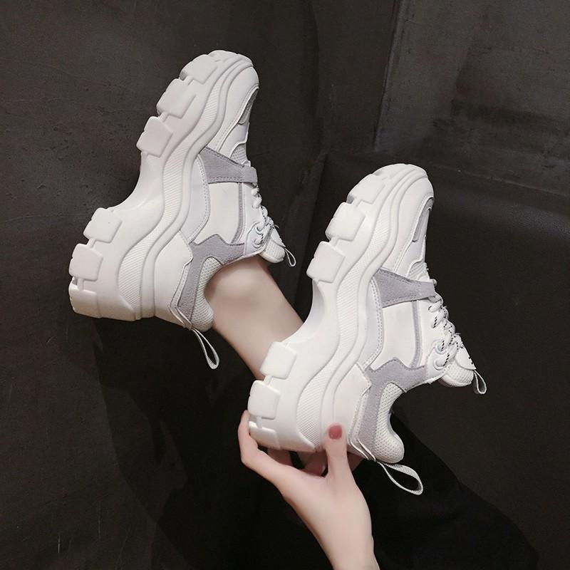 女士厚底鞋 新款松糕鞋女厚底单鞋秋季女鞋2020新款网红老爹鞋百搭增高小白运_推荐淘宝好看的女厚底鞋
