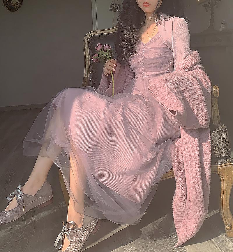 紫色连衣裙 IFLING 【紫霞】紫色针织网纱中长款年会连衣裙2020新款打底仙女_推荐淘宝好看的紫色连衣裙