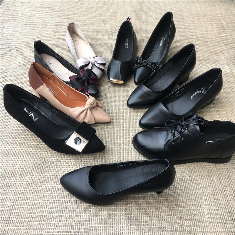 高跟单鞋 真皮头层牛皮女鞋 百搭休闲日常平跟中跟高跟女单鞋 48元包邮_推荐淘宝好看的女高跟单鞋