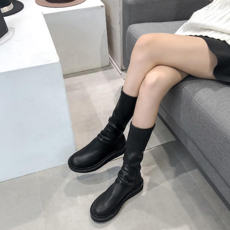 圆头短靴 2020秋冬新款网红瘦瘦靴短靴女平底不过膝长靴圆头长筒靴子马丁靴_推荐淘宝好看的女圆头短靴