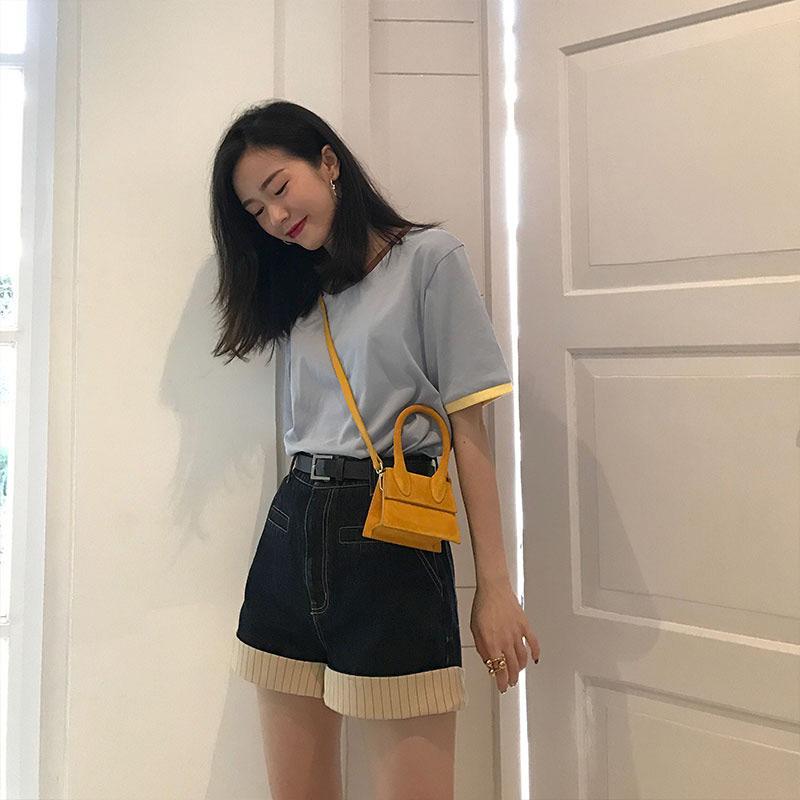 黄色手提包 小包包女2021新款时尚斜挎简约磨砂口红包黄色包迷你挎包小手提包_推荐淘宝好看的黄色手提包