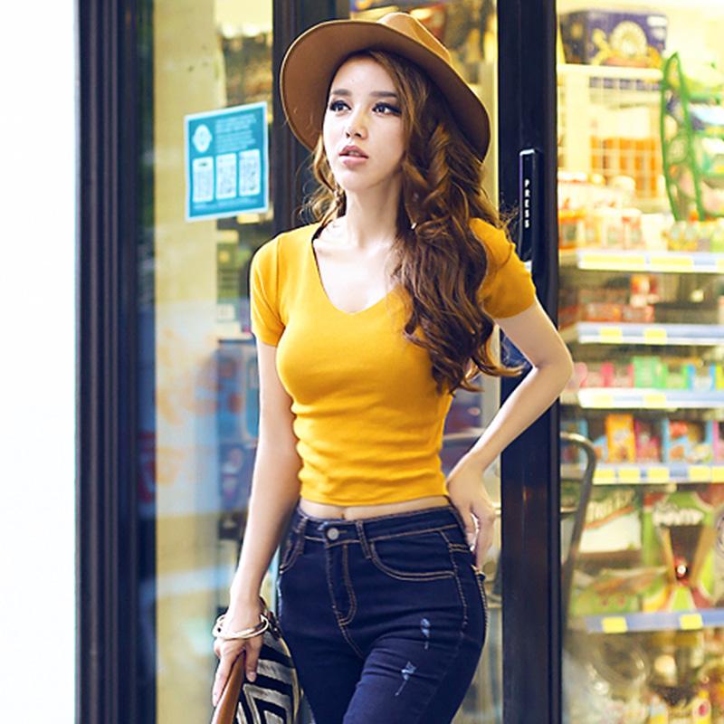 韩版针织衫 2021春夏新款韩版女性感修身V领短袖针织衫套头显瘦v领上衣打底衫_推荐淘宝好看的女韩版针织衫