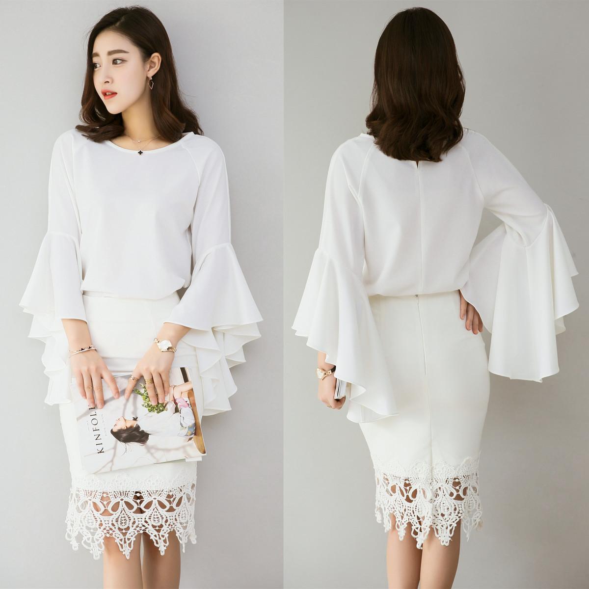 白色雪纺衬衫 2020夏款白色显瘦衬衣韩范时尚OL通勒喇叭袖衬衫女荷叶袖雪纺衫女_推荐淘宝好看的女白色雪纺衬衫