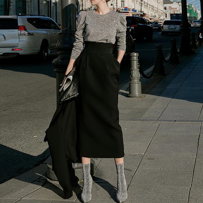 黑色半身裙 高腰半身裙女2021春夏新款韩版时尚显瘦百搭中长裙黑色气质包臀裙_推荐淘宝好看的黑色半身裙