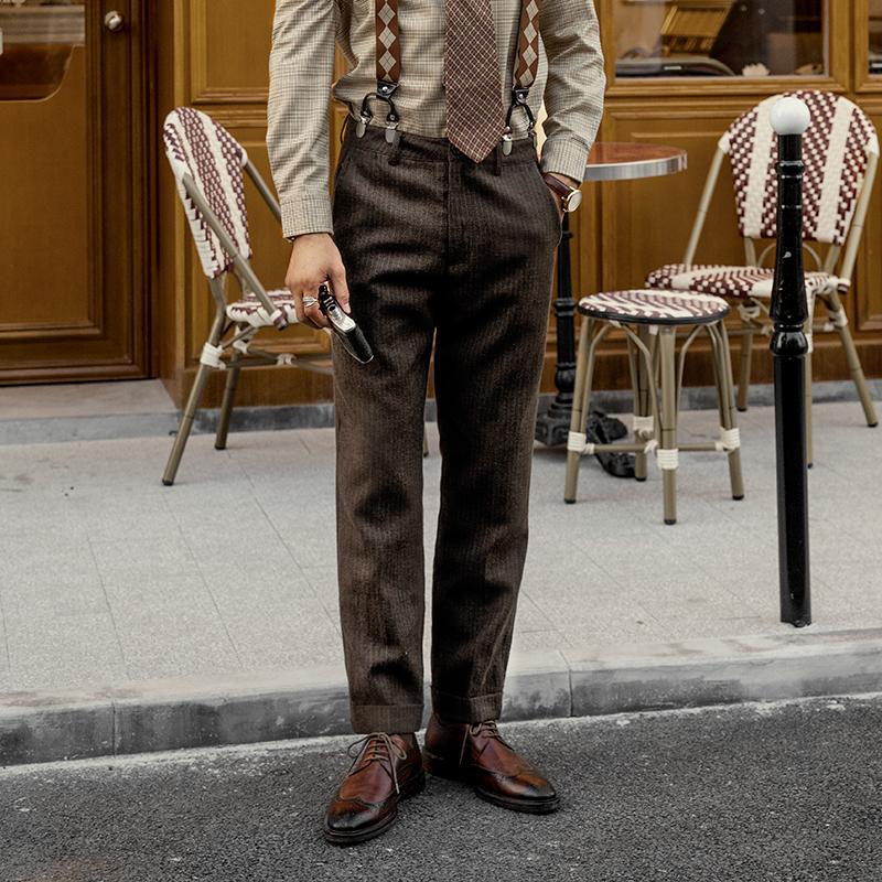 男装 SOARIN独立复古雅痞男装条纹痞帅裤 Vintage古着小脚九分西装裤_推荐淘宝好看的男装