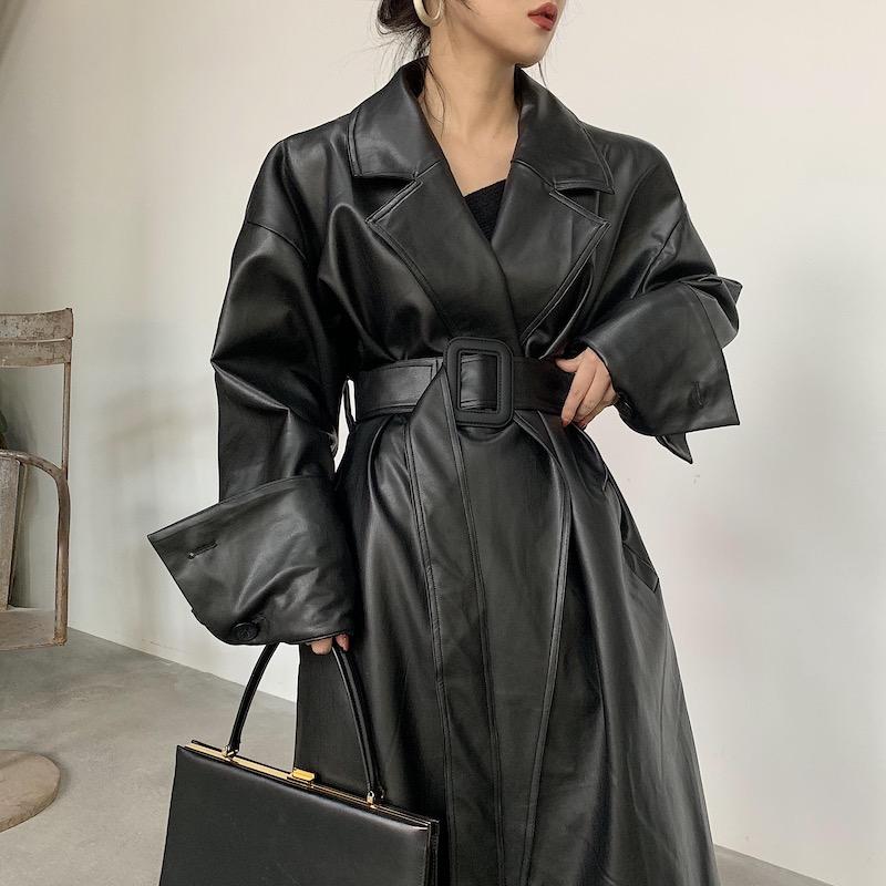 黑色皮衣 BOCCALOOK定制冬季收腰系带黑色长款帅气皮衣大衣外套女夹棉加厚_推荐淘宝好看的黑色皮衣
