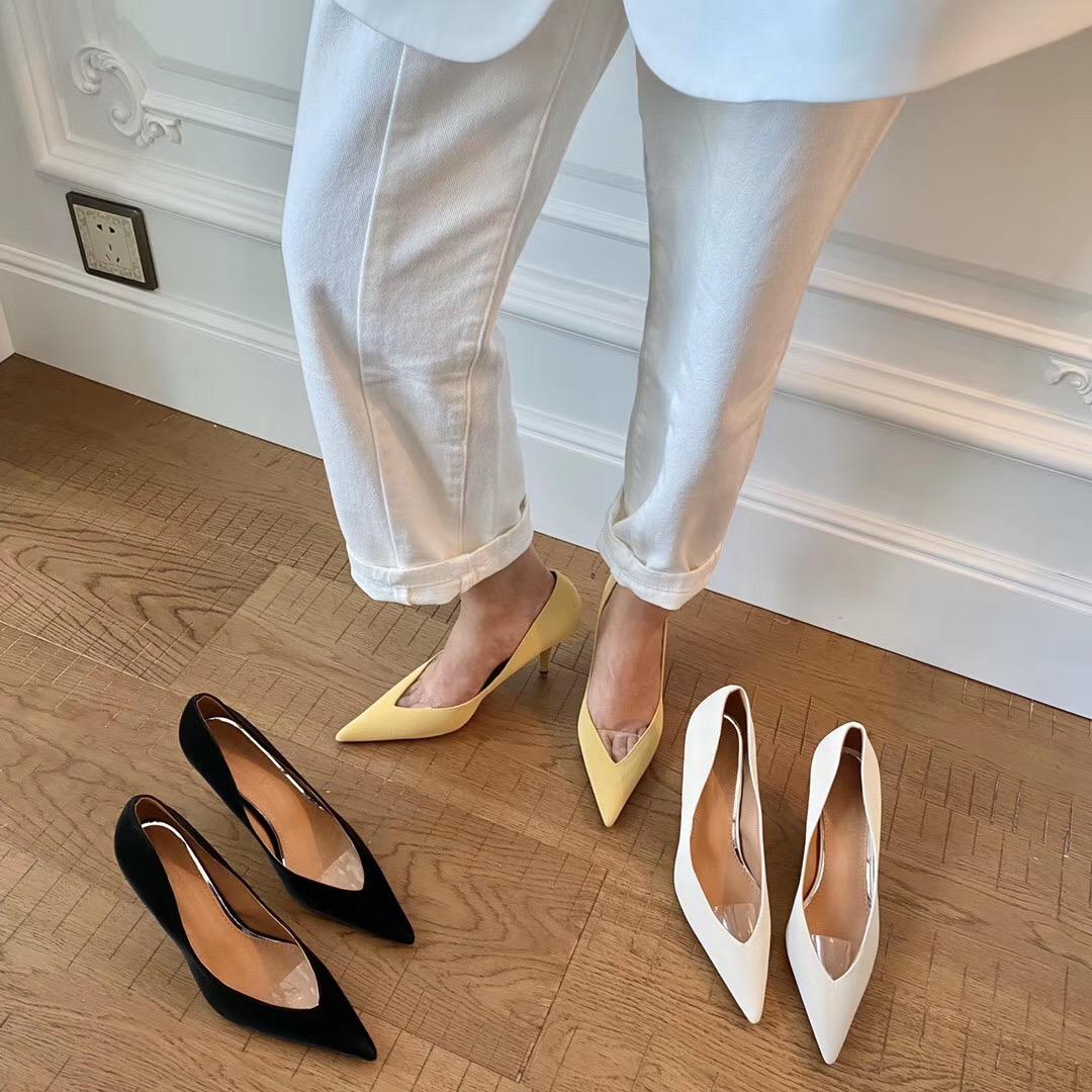 鱼嘴高跟单鞋 韩国显瘦高跟鞋女鞋子尖头细跟单鞋女2020春新款性感露趾浅口鞋子_推荐淘宝好看的女鱼嘴高跟单鞋