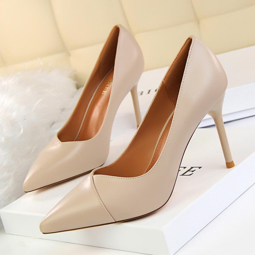 欧美款尖头鞋 红色婚鞋2019春季新款欧美风尖头鞋显瘦细跟高跟鞋时尚单鞋女鞋子_推荐淘宝好看的欧美尖头鞋