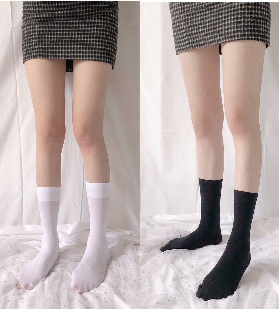 制服丝袜 天鹅绒中筒袜jk制服袜夏季薄款小腿袜日本学生袜丝袜堆堆袜膝下袜_推荐淘宝好看的制服丝袜