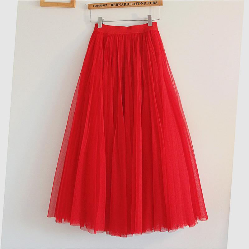 红色半身裙 2021春季新款红色网纱裙半身裙韩版高腰a字中长款大摆裙跳舞裙女_推荐淘宝好看的红色半身裙