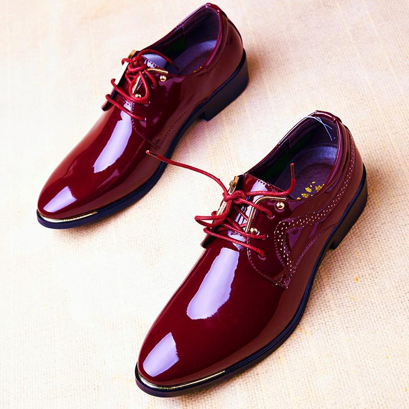 红色尖头鞋 漆皮鞋男结婚影楼商务休闲英伦红色皮鞋男尖头青年发型师韩版潮流_推荐淘宝好看的红色尖头鞋