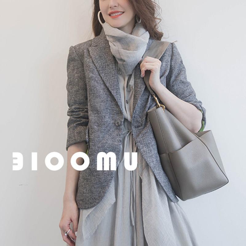 小西服 韩版西装女2020春季新款复古灰色小格纹毛呢一粒扣修身小西服外套_推荐淘宝好看的女小西服