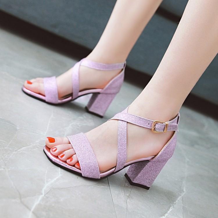 紫色鱼嘴鞋 夏季凉鞋女罗马露趾鞋高粗跟镂空一字扣金银紫色亮片布少女时尚鞋_推荐淘宝好看的紫色鱼嘴鞋
