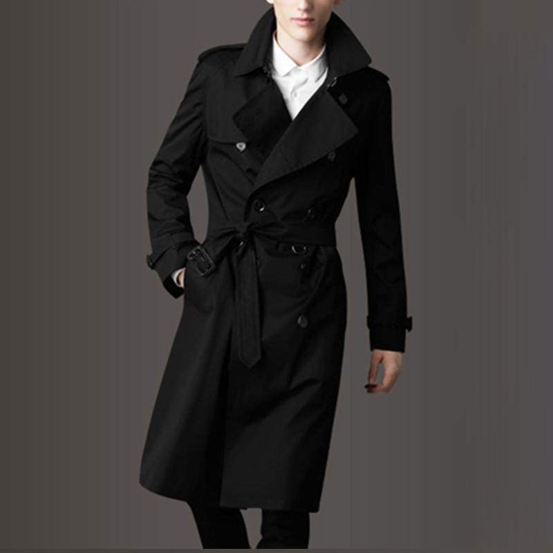 黑色风衣 秋冬款风衣男长款过膝中国风胖子加肥加大码黑色加绒加厚外套潮流_推荐淘宝好看的黑色风衣