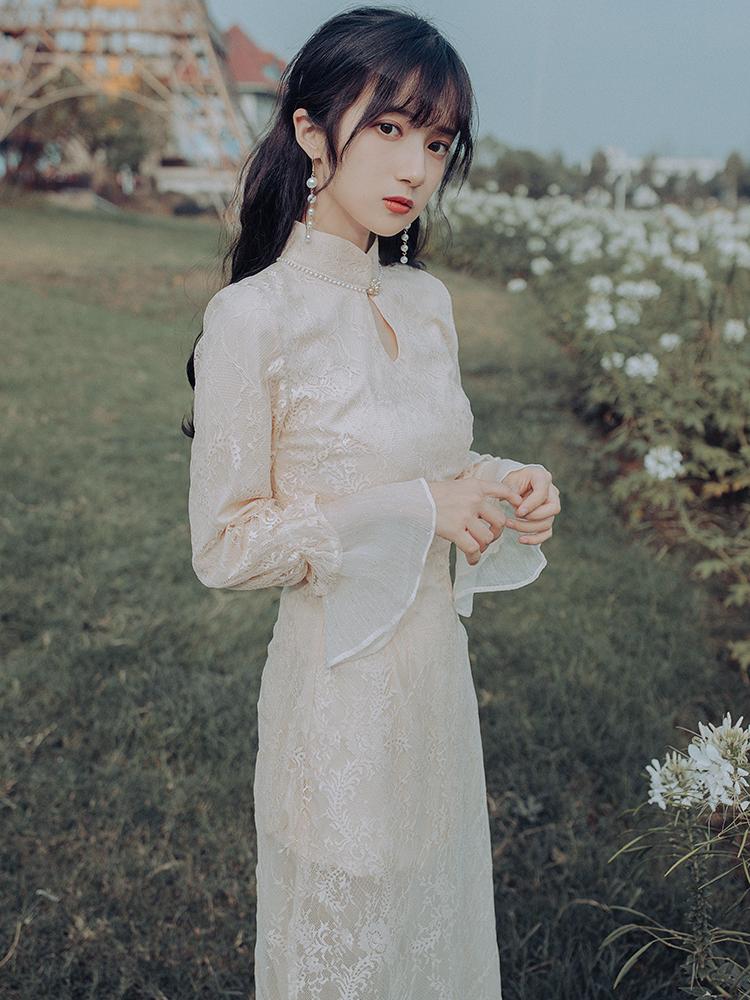 蕾丝连衣裙 秋冬季改良旗袍年轻款少女中国风复古长款气质内搭仙女蕾丝连衣裙_推荐淘宝好看的蕾丝连衣裙