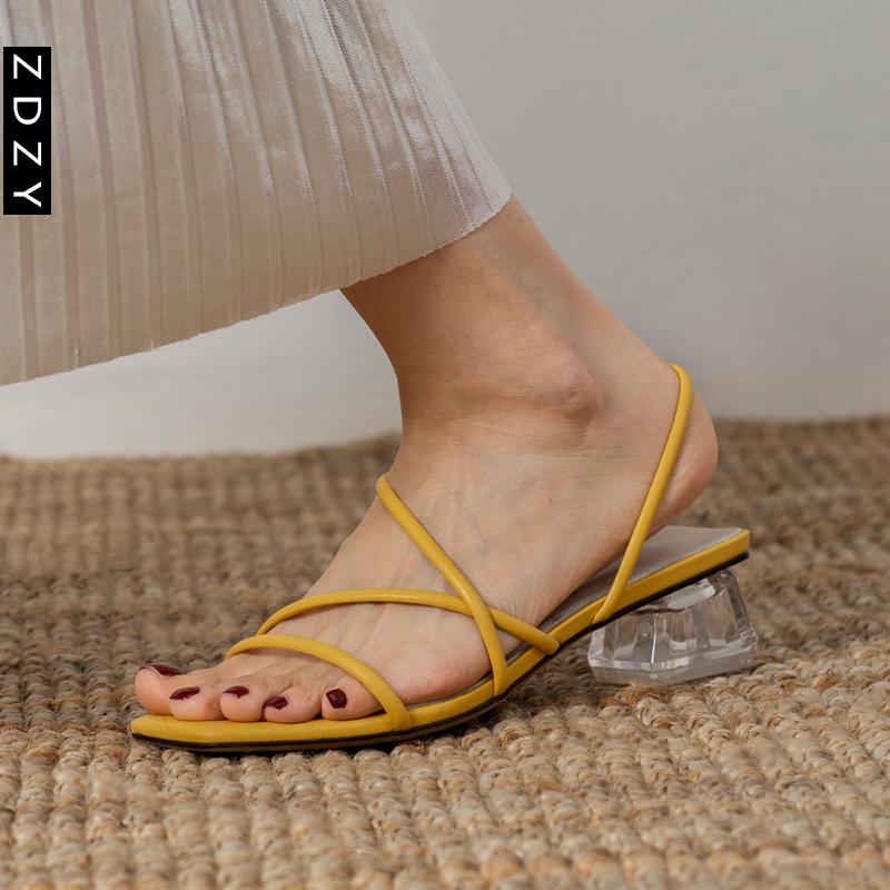 黄色罗马鞋 ZDZY罗马水晶凉鞋女2021新款夏天黄色简约交叉细带中跟仙女风女鞋_推荐淘宝好看的黄色罗马鞋