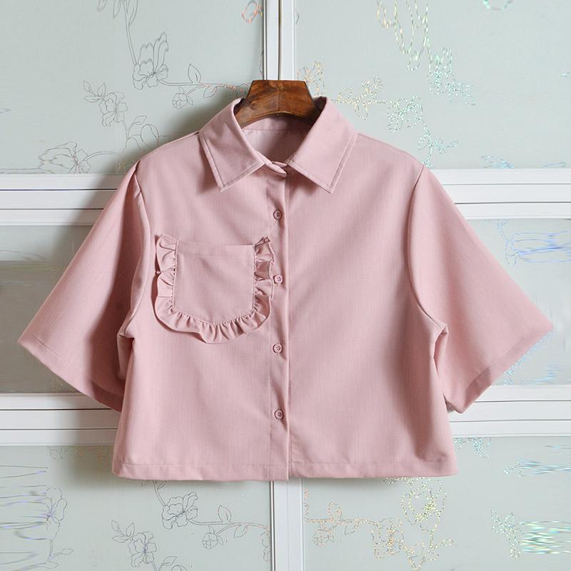 女士短袖衬衣 帆帆自制 甜美可爱粉色短袖荷叶边口袋衬衫女夏季短款上衣学院风_推荐淘宝好看的女短袖衬衣