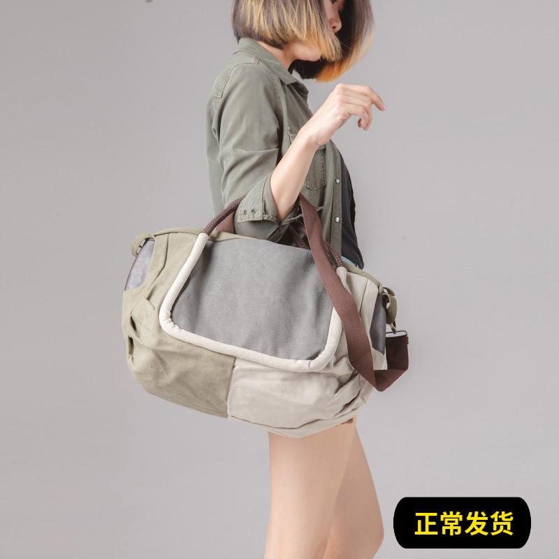 女士复古手提包 时尚帆布包包复古手提包女包大容量旅行包斜挎包韩版潮女式单肩包_推荐淘宝好看的女复古手提包