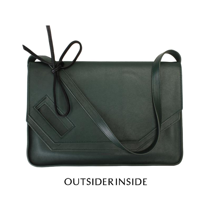 绿色信封包 OUTSIDERINSIDE 墨绿色 小牛皮信封包 原创设计师品牌多用腋下包_推荐淘宝好看的绿色信封包