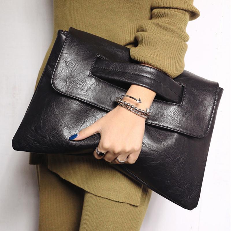 黑色信封包 韩版简约时尚女士手拿包2020春夏新款潮流女包单肩斜挎包信封包包_推荐淘宝好看的黑色信封包