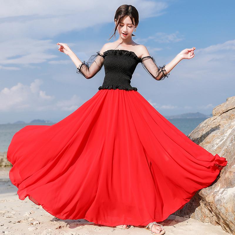 红色半身裙 大红色雪纺半身长裙女高腰显瘦宝蓝色新疆舞舞蹈裙旅游拍照跳舞服_推荐淘宝好看的红色半身裙