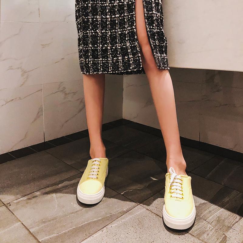 黄色平底鞋 LIN女鞋春季新款韩版百搭鹅黄色帆布厚平底单鞋_推荐淘宝好看的黄色平底鞋