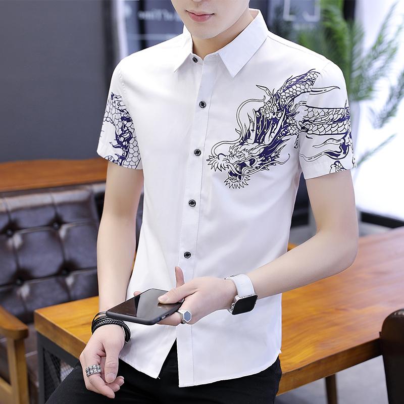 男士修身衬衫 2021夏季新款青年衬衫男短袖修身韩版潮流帅气印花男士印花寸衬_推荐淘宝好看的男修身衬衫