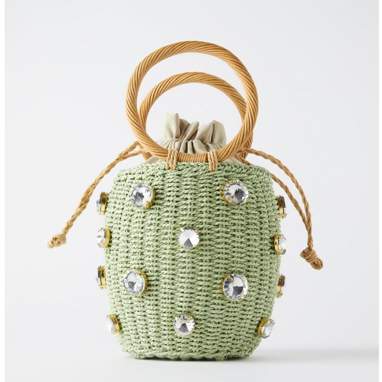 绿色草编包 za2020新款草编包女绿色宝石镶饰篮式手提水桶包手工坛子编织包_推荐淘宝好看的绿色草编包