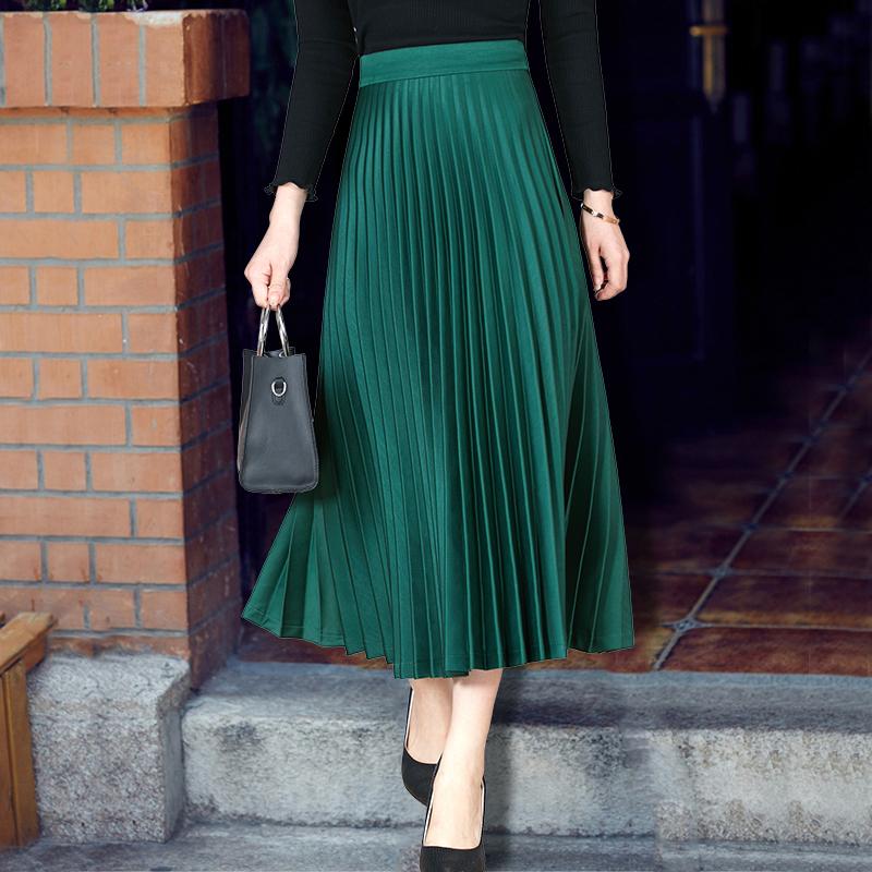 绿色半身裙 tb百褶裙大码胖mm半身裙中长款女2020风琴裙子春夏季显瘦 a字长裙_推荐淘宝好看的绿色半身裙