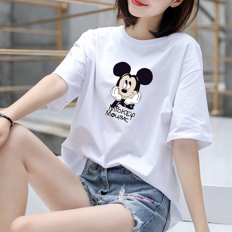 空白t恤 2020实拍韩版新款夏季学生光版纯棉短袖t恤女空白版米奇包邮_推荐淘宝好看的女空白t恤
