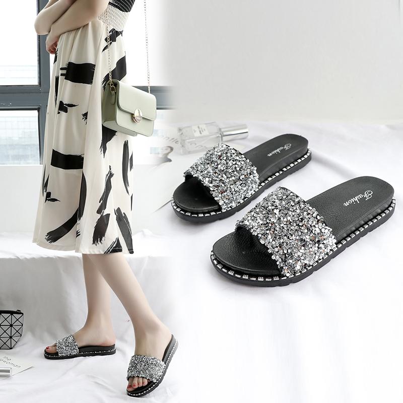 平底鞋 新款时尚凉拖鞋女夏季外穿百搭平底韩版亮片厚底室外沙滩鞋女_推荐淘宝好看的女平底鞋