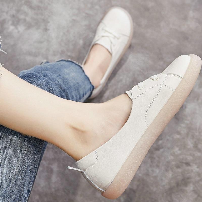 女鞋 2019新款软皮牛筋软底女鞋平底小白鞋一脚蹬学生浅口懒人单鞋660_推荐淘宝好看的女鞋