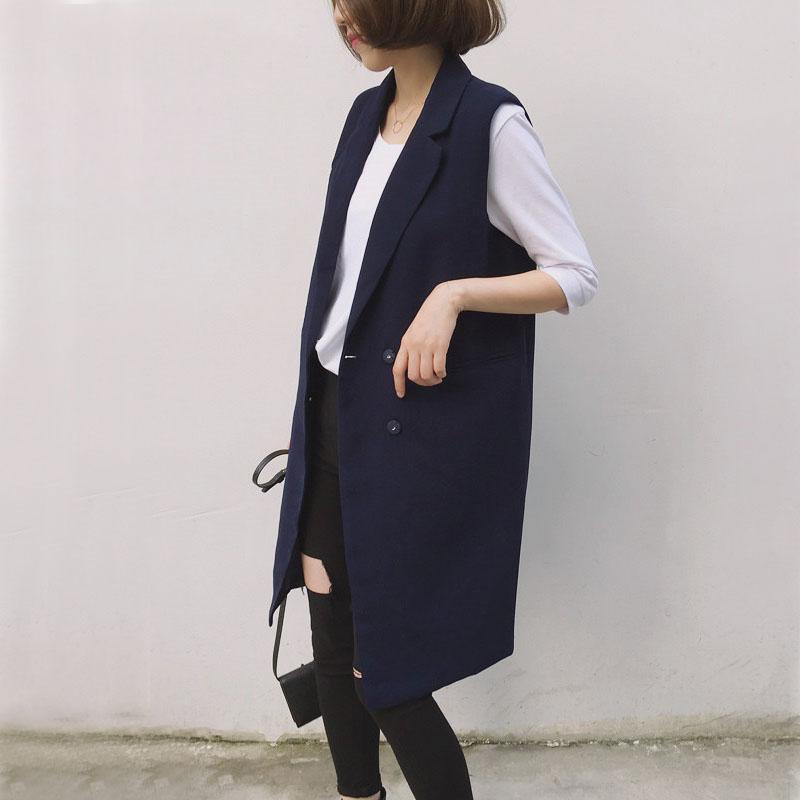 外套 2020春秋季中长款马夹韩版女装黑色修身背心西装大码马甲外套女_推荐淘宝好看的女外套