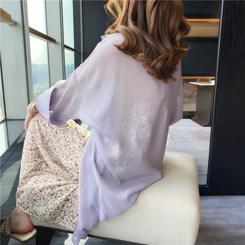 紫色雪纺衫 紫色衬衫女夏复古港味2021年新款设计感小众雪纺衬衣防晒长袖上衣_推荐淘宝好看的紫色雪纺衫