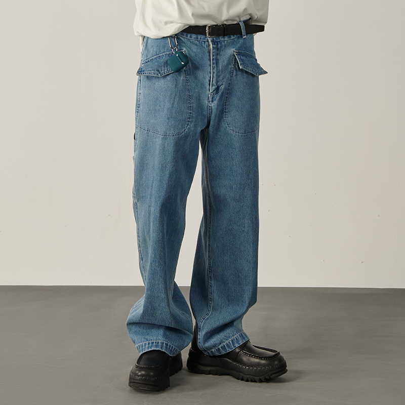 低腰直筒牛仔裤 Les Fortes 20ss 春夏廓形宽松工装多口袋牛仔裤蓝色滑板直筒男女_推荐淘宝好看的女低腰直筒牛仔裤
