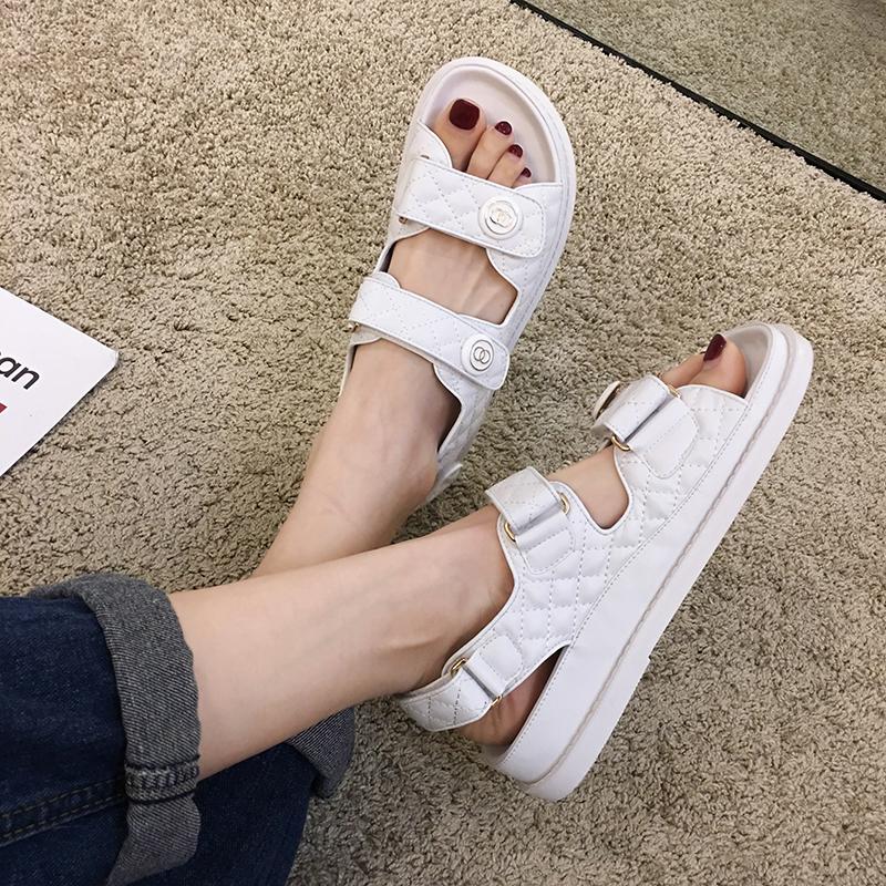 白色罗马鞋 凉鞋女2021年夏季新款罗马女鞋百搭白色大码魔术贴厚底休闲平底鞋_推荐淘宝好看的白色罗马鞋