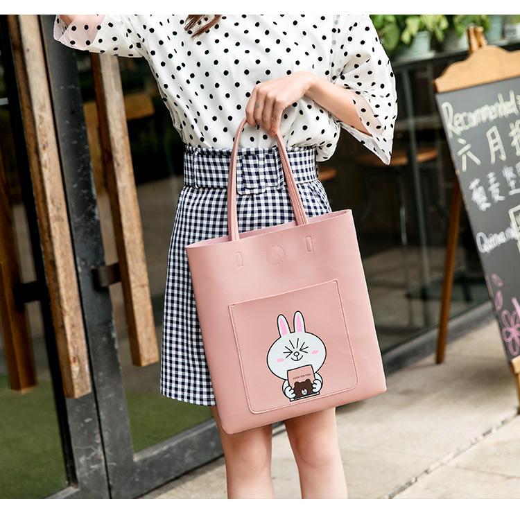 韩版手提包 大学生上课单肩包手提包软皮少女手拎包装书韩版购物袋校园大容量_推荐淘宝好看的女韩版手提包