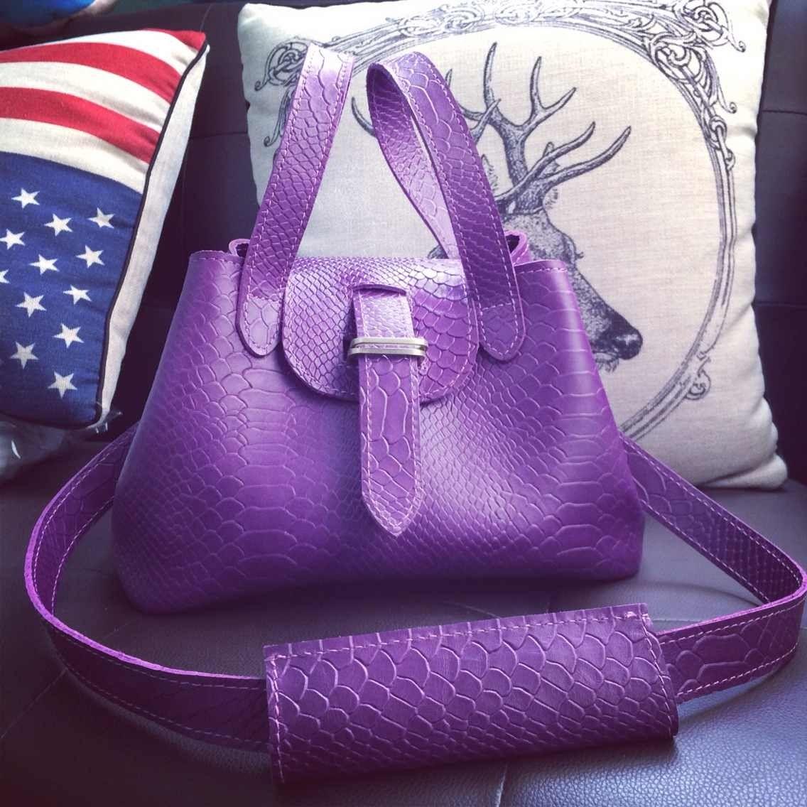 紫色复古包 泛泛定制-- 纯牛皮 复古 购物袋 摇篮包单肩包 手拎包 紫色鳄鱼纹_推荐淘宝好看的紫色复古包